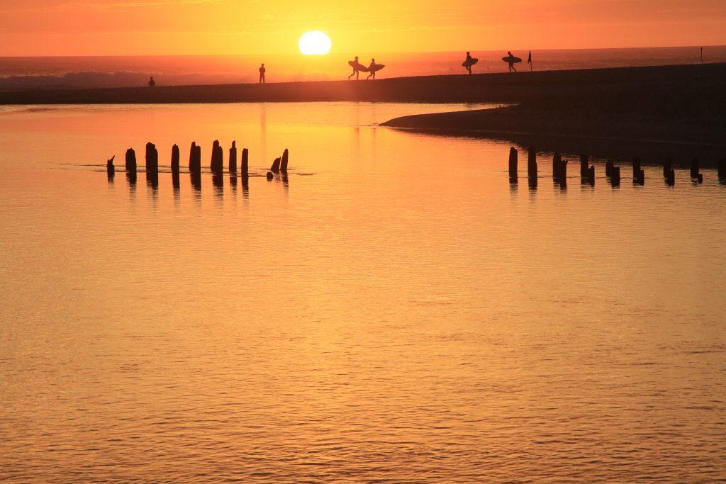 Courant d'Huchet au coucher du soleil